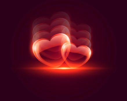 shiny glossy heart valentines day background
