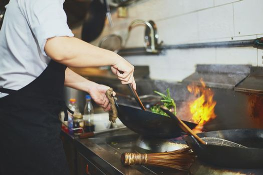 Stir fry cooking with chef