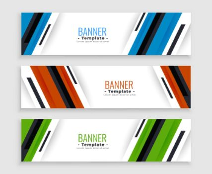 stylish business banners set in three colors