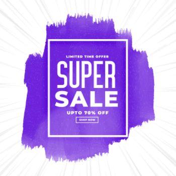 super sale watercolor purple banner design