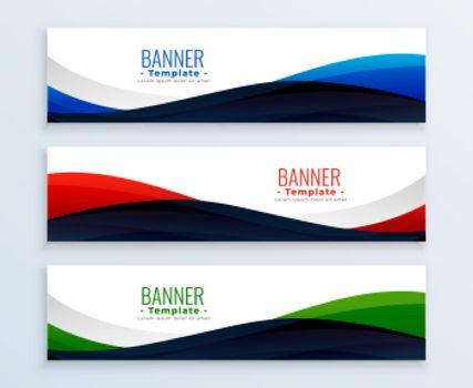 wavy web business banners headers set