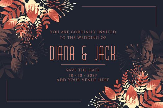 wedding card invitation template in leaves style