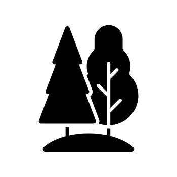 Deciduous and conifer forest vector flat glyph icon