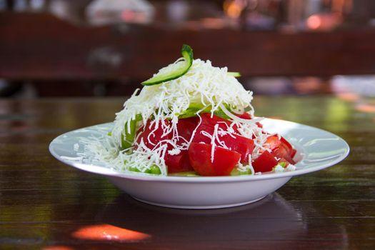 Traditional Bulgarian salad - shopska salad