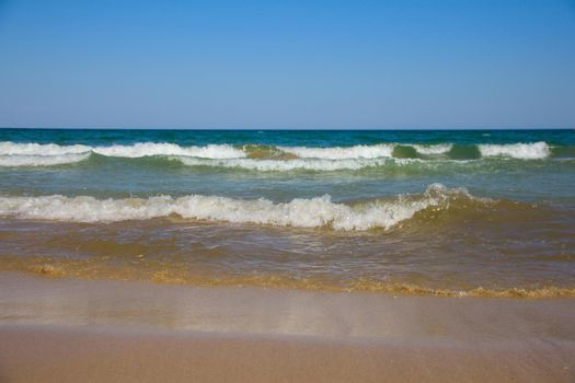 Sea waves and sandy beach , Black sea , Kranevo , Bulgaria