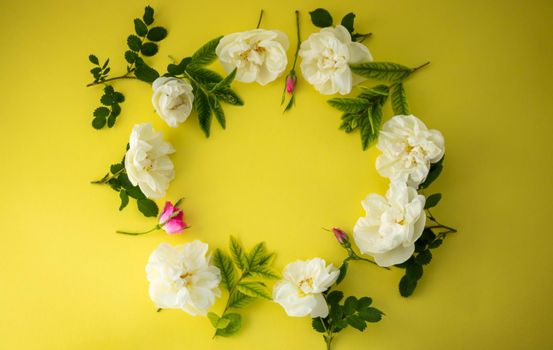 On a yellow background, a round frame of flowers and rosehip leaves.The festive concept. Space for text.