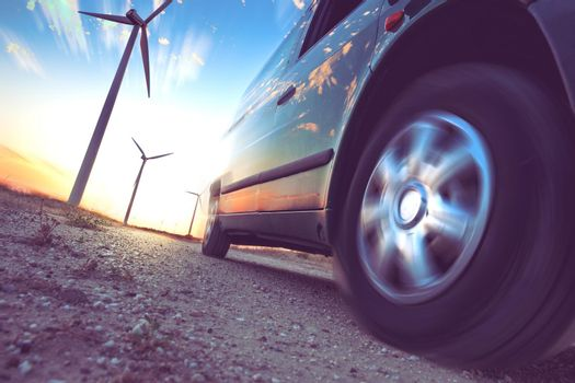 Industry of electric car and renewable energy concept