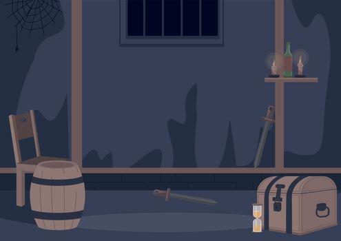 Quest room flat color vector illustration