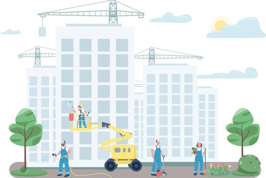 Janitorial team cleaning street flat color vector faceless characters. Janitors on construction site isolated cartoon illustration for web graphic design and animation. Commercial cleaning service