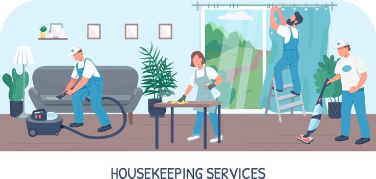 Housekeeping services banner flat vector template. Cleaning business brochure, booklet one page concept design with cartoon characters. Janitorial team service, house maintenance flyer, leaflet