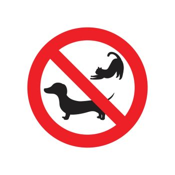 No pets sign. red prohibition sign. vector illustration.