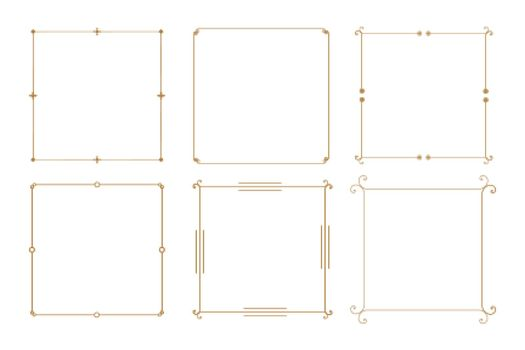 elegant decorative vintage frame borders set of six