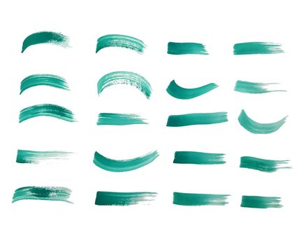paint brush stroke set in turquoise color
