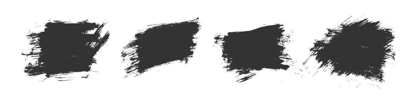 black watercolor brush stroke texture set design