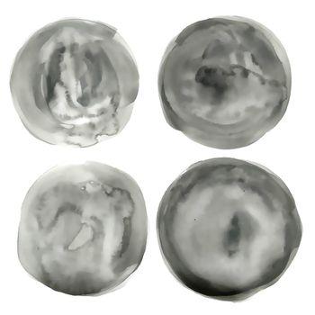 circle watercolor gray circle texture set of four