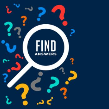 question and answers background with search symbol