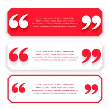 red wide quotes or testimonial template design
