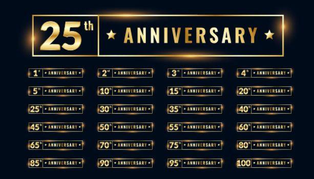 bif set of anniversary labels and emblems