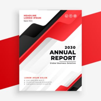 red color annual report business brochure design template