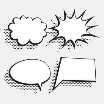 halftone style comic chat bubble expression in white