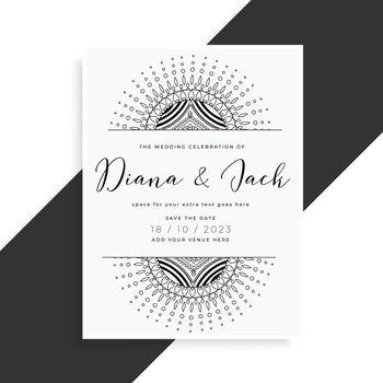mandala style wedding template card for invitation