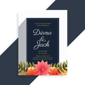 elegant wedding invitation flower decorative card design