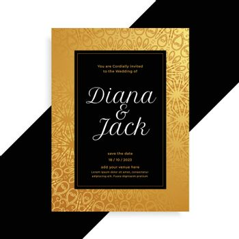 luxury golden and black wedding card invitation template