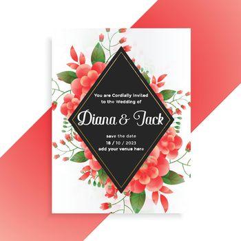 flower decorative wedding invitation card template design