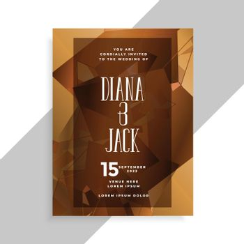 abstract style wedding invitation card design template