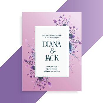 decorative flower style wedding invitation card design