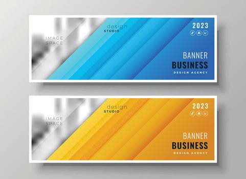 modern wide business banners set of two