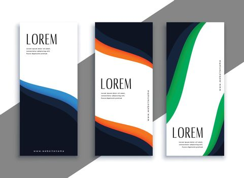 elegant vertical banners set with wavy shape