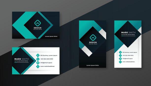 geometric turquoise modern business card design