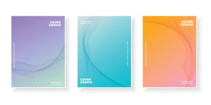 gradient cover pages design with curvy pattern
