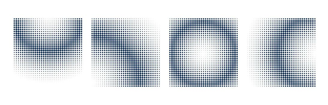 halftone background set with square shapes