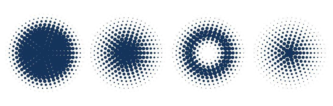 circular halftone pattern set of four