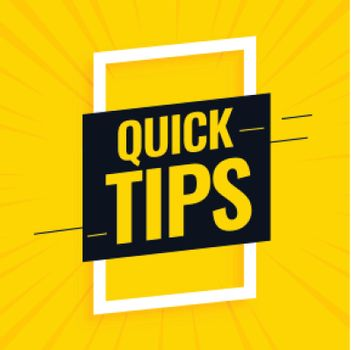 quick helpful tips yellow background design