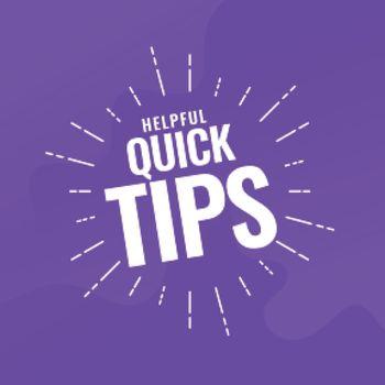 helpful quick tips purple background design