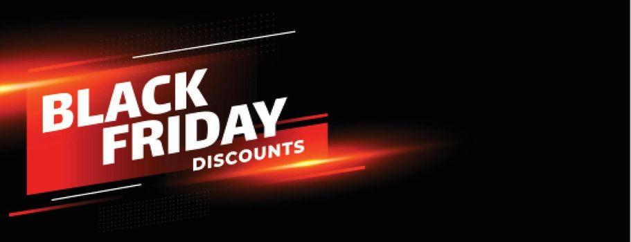 Black friday sale discounts shiny banner on black background