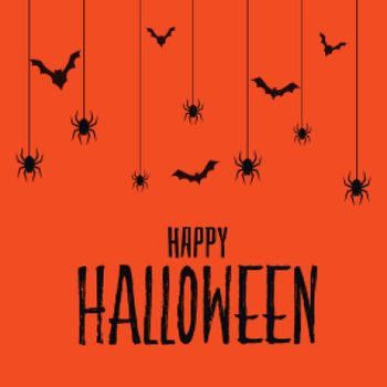 Happy halloween scary spooky card with bats and spider