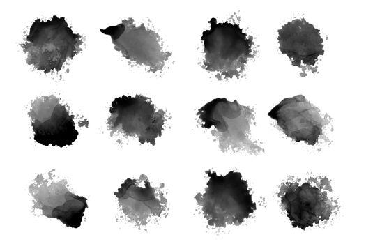 black ink watercolor splatters and drips