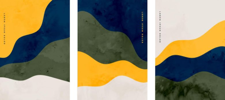 set of minimalist hand painted abstract wavy flyers