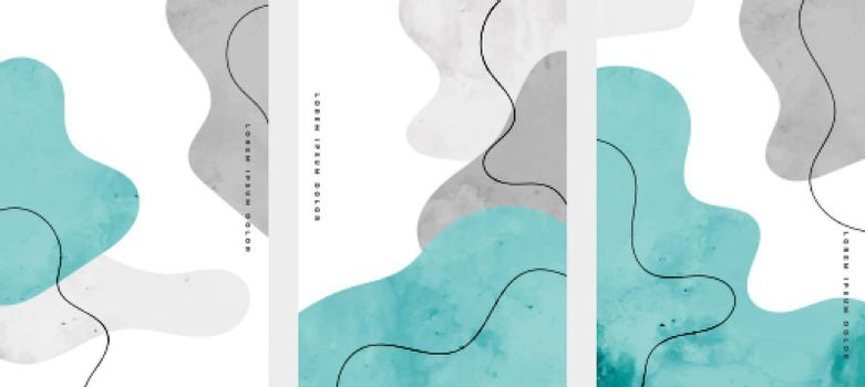 set of hand painted abstract cover pages design