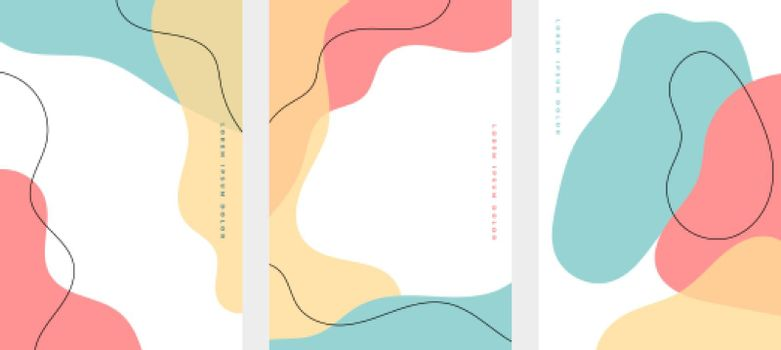 set of minimalist hand drawn fluid shapes background