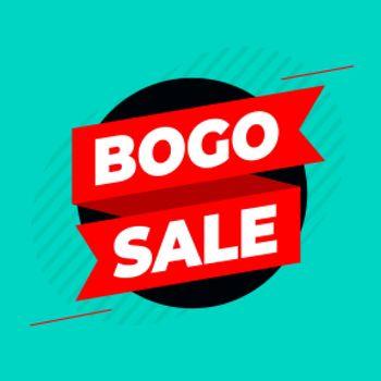bogo buy one get one sale ribbon background