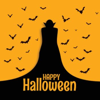 Happy halloween scary spooky card with wizard and bats