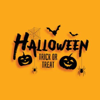Halloween trick or trat card with bats and scary pumpkins