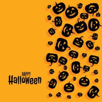 Happy halloween scary spooky pumpkin card design background