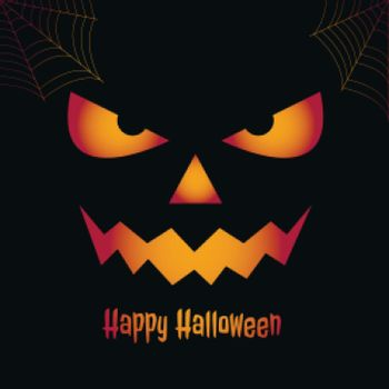 Happy halloween spooky card with scary face