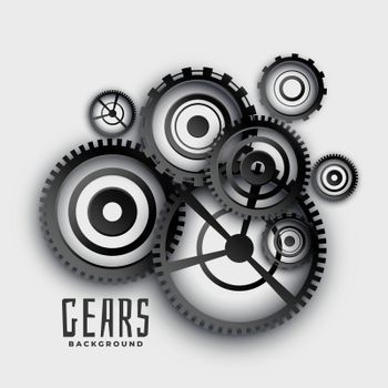 gears and cog wheels in 3d style background